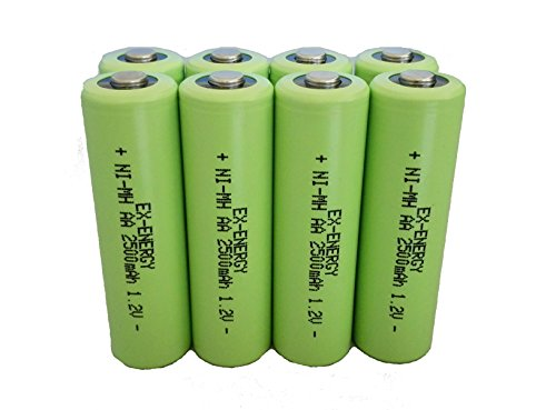 EX-ENERGY AA 1.2V 2500mAh LSD Button top NiMH Rechargeable Batteries 8 Pack