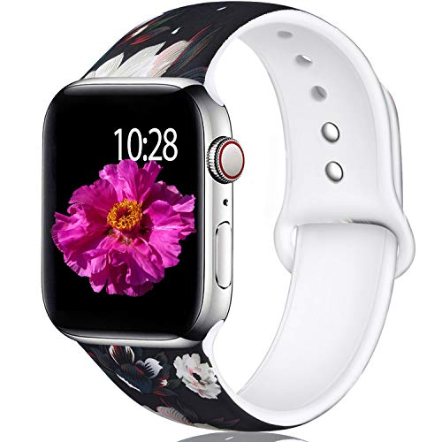 (Laffav Compatible with Apple Watch Band 44mm 42mm, Soft Replacement Pattern Wristband for iWatch Apple Watch Series 4, Series 3, Series 2, Series 1, White Flower, M/L)