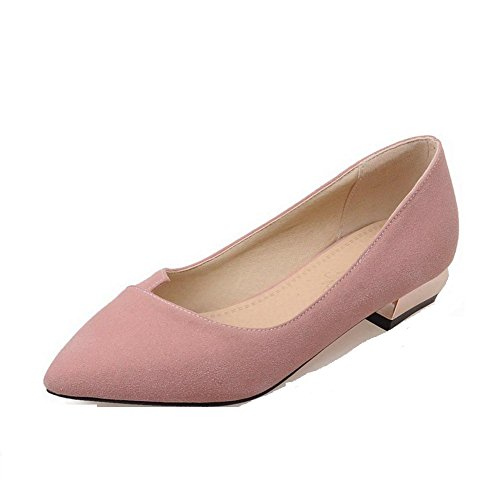 Imitated Solid Pointed Low Toe Closed Shoes Women's on Heels Pull Suede Pink Pumps WeenFashion 4YEwqx54