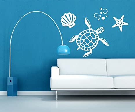 "Sea Turtle and Shells Vinyl Wall Decal, Ocean Decals, Sea Decals, Turtle Wall Decals, Aquatic Wall Decals, Ocean Wall Decor, Beach Decals, Turtle Wall Stickers, PLUS FREE 12"" WHITE HELLO DOOR DECAL"