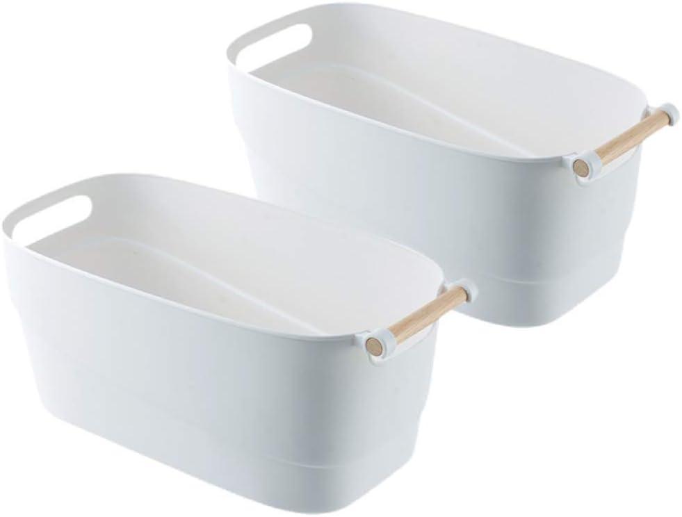 Storage Bins with Wood Handle, Set of 2 - Minimal, Sleek Design - White Matte Plastic Organizer Bucket for Pantry Shelf, Kitchen, Closet, Bathroom, Kids Toys & More - Durable, Easy to Clean - Medium