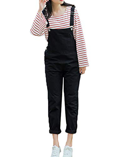 Amazhiyu Womens Straps Bib Overalls Jumpsuit Solid Capris Pants with Pockets Fall Casual Outfits for Juniors (Black, L)