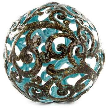 Blue Fancy Metal Decorative Sphere