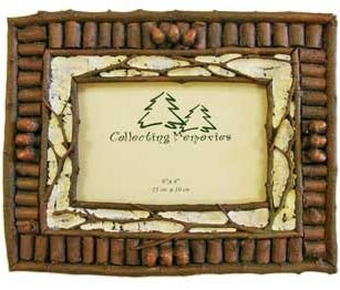 Rustic Twig & Birch w/ Mini Acorns Photo Frame (Holds 4x6) (Vertical or Horizontal)