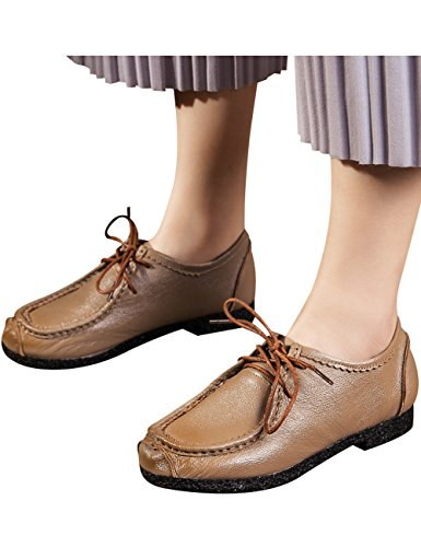 Lace Mother Leather Shoes Khaki Up Flat Shoes Women's Zoulee SxFan4zn