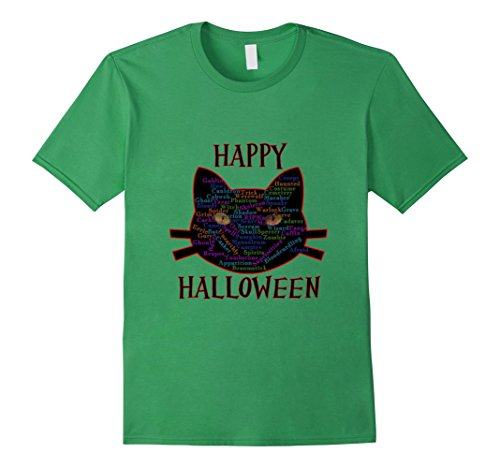 Mens Happy Halloween Black Cat Word Cloud Large Grass
