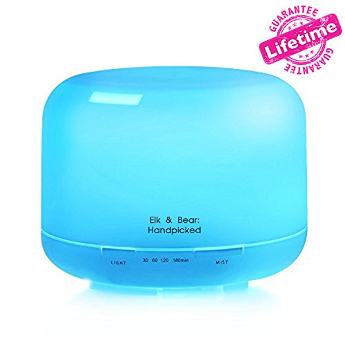 Elk & Bear: Handpicked 500ml Aromatherapy Cool Mist Ultrasonic Air Humidifier Essential Oil Diffuser with 4 Timer Settings, 7-Color LED Light Settings and Mist-Auto Shutoff