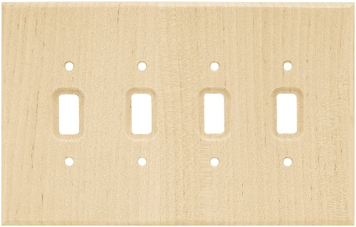 BRAINERD 126797 Wood Square Quad Toggle Switch Wall Plate / Switch Plate / Cover, Unfinished Wood - Quad Wall Light