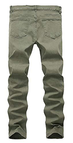 Moda Jeans Stretch Retrò Uomo Unita Tinta Fit Pantaloni Semplice Stile Strappati Bianca Slim Denim nvS5W