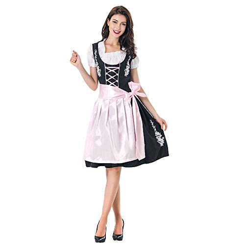 Fiaya Women Dress Halloween Short Sleeve U Neck Carnival Oktoberfest Beer Festival Cosplay Bavarian Costume German Dirndl Tavern Maid Dress (M, Pink A04 Style) ()