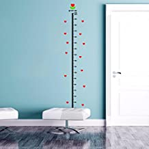 BIBITIME Red Hearts Growth Charts for Children Kids Room Decor Nursery Height Chart for Wall Decal Sticker Vinyl Quotes,Minimum scale: 20cm; ,Maximum scale:200cm