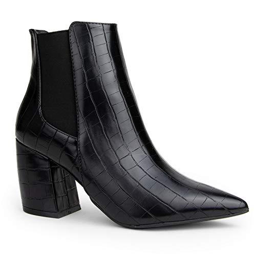 Qupid Milkyway Booties for Women - Black Faux Croc Mid Heel Chelsea Boots - 6