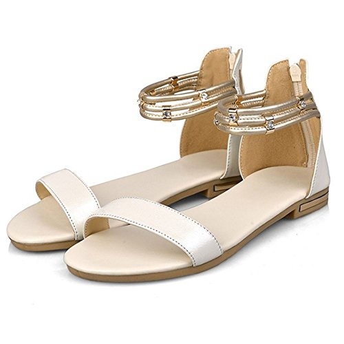 Women Flat Open Sandals With Shoes Beige Fashion Toe Strap COOLCEPT Zip Ankle wdfq6xw0