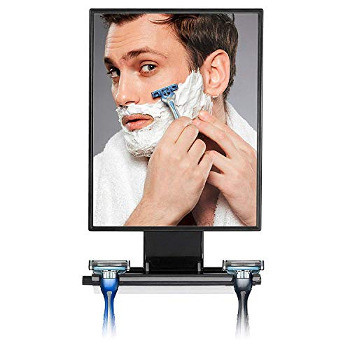 ToiletTree Products Deluxe Larger Fogless Shower Shaving Mirror with Squeegee, Large, Black