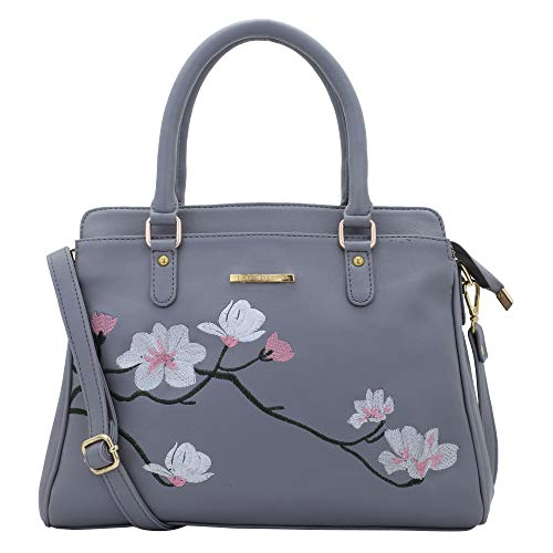 Lapis O Lupo Women Vegan Leather Handbags Flower Embroidered Bags Fashion Satchel Bags Top Handle