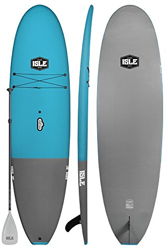 ISLE Cruiser Soft Top Stand Up Paddle Board (4.5 Thick) SUP Package | Includes Adjustable Paddle, Center Carry Handle, Center Fin, Non Slip Deck (Blue, 105)