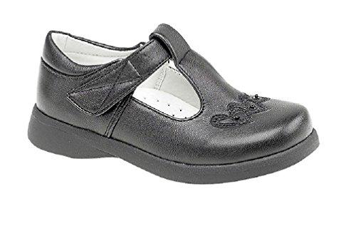 Boulevard Mädchen T Bar Klettverschluss Schuhe Black Matt PU