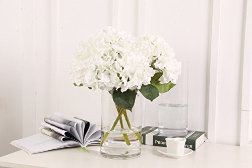 Hydrangea Centerpiece (Sunrisee Artificial Flowers 5 Big Heads Fake Silk Hydrangea Flowers for Home Hotel Wedding Party Garden Floral Decor, White)