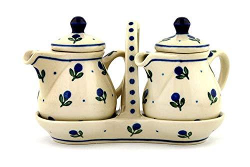 Polish Pottery 5¾-inch Seasoning Set made by Ceramika Artystyczna (Blue Buds Theme) + Certificate of Authenticity by Polmedia Polish Pottery (Image #3)