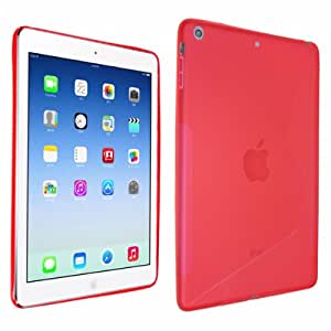 Okeler Red S-line Shape Soft TPU Rubber Gel Back Case Cover Skin for Apple iPad Air 5th with Free Pen