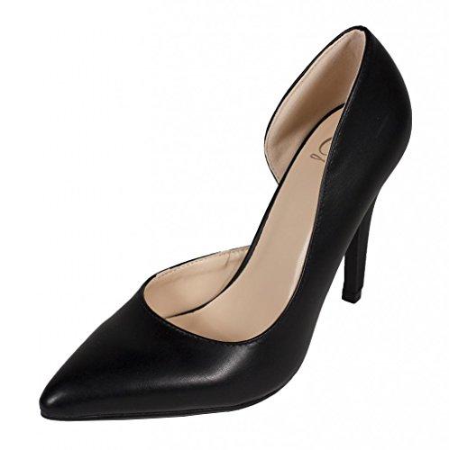 Lustacious Mujeres Classic Pointy Toe Dorsay Vestido Slip On Pumps Cuero Sintético Negro