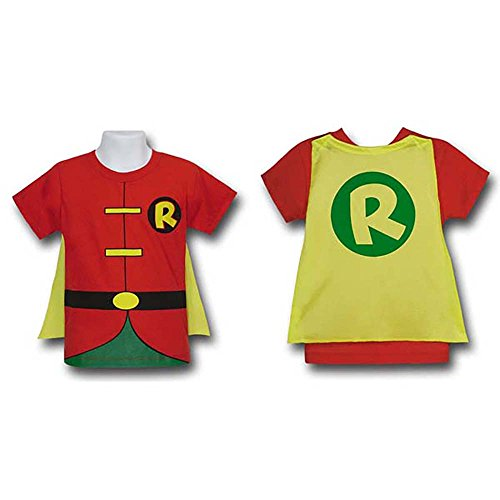 [Robin Toddler Kids Child Costume Cape T-Shirt Batman DC Comics (3T)] (Kids Batman And Robin Costumes)