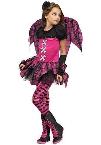 4 Piece Girls Pink Tartan Dark Fallen Angel Punky Fairy + Wings Halloween Fancy Dress Costume Outfit (8-10 Years)]()
