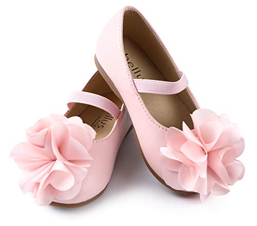 ContiKids Girls Flower Mary Jane Ballerina Flat Shoes (Toddler/Little Kid) 170 Pink ()