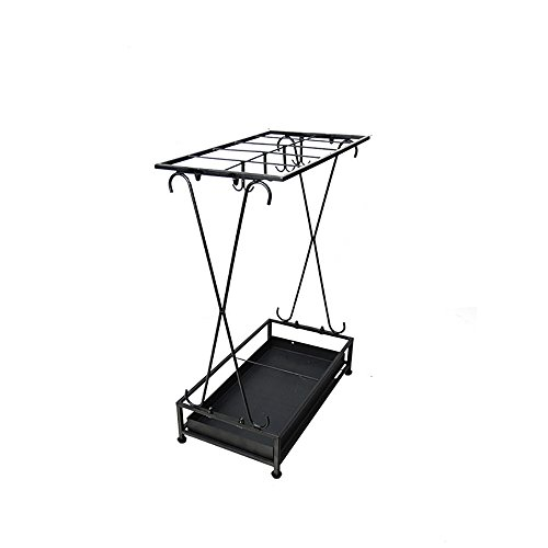 (XUEXUE Square Umbrella Stand with Hook and Drip Tray Household Appliance Hall Umbrella Storage Rack Black 44x24x60cm)