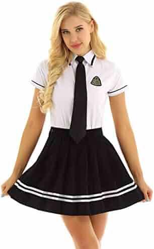 7b8976877c iEFiEL 3Pcs Women School Girls Cosplay Costume School Uniform Sailor Suit  Long Sleeve Shirt + Skirt