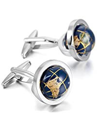 MOWOM Silver Tone Blue 2PCS Rhodium Plated Cufflinks Spins Globe Shirt Wedding Business