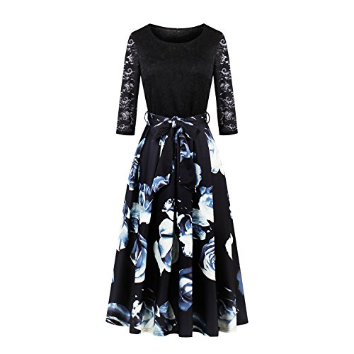 Women's Vintage 1950s 3/4 Sleeve Lace Floral Printed Cocktail Evening Dress (S, Black)