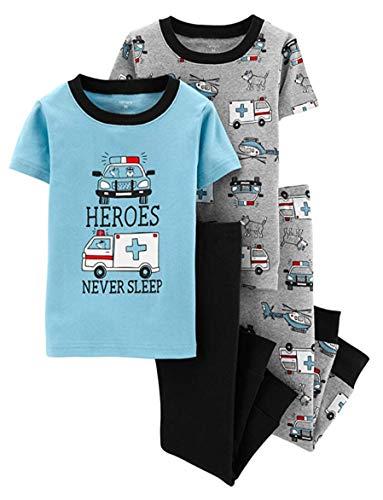 Carters Boys 4-Piece Snug Fit Cotton PJ Set, Heros, 12 Months]()