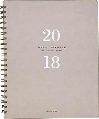 "AT-A-GLANCE Weekly / Monthly Planner, January 2018 - January 2019, 8-3/4"" x 11"", Signature Collection, Gray (YP90508)"