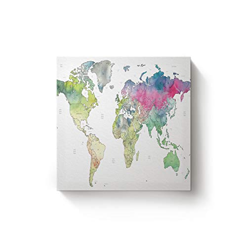 YEHO Art Gallery Square Canvas Wall Art Oil Painting Office Home Decor,Simple Style Map The World with White Background Artworks for Christmas,Stretched by Wooden Frame,Ready to Hang,12 x 12 Inch (Definition Votive)
