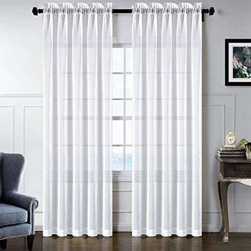 sgofais Sheer Curtains Rod Pocket White Semi Sheer Transparent Soft Thin Elegance Voile for Home Decor (52''x84'' inch White)