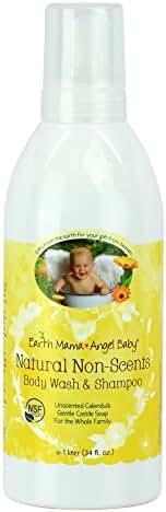 Earth Mama Angel Baby Natural Non-Scents Body Wash & Shampoo Unscented Organic Castile Soap Liter, 34 fl. oz.