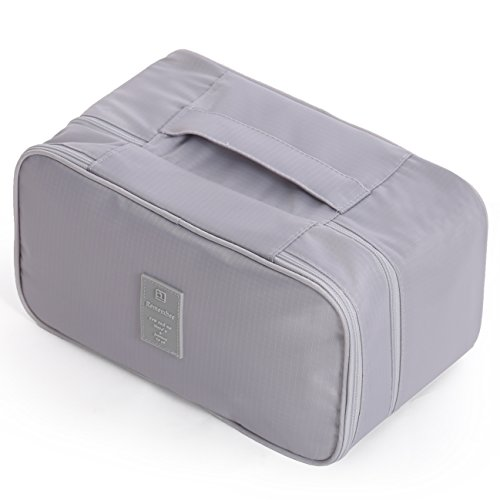 anizer, JJ POWER Large Compartment Lightweight Double Layer Cosmetic Bag, Bra Bag for Travel (Grey) (Double Compartment Travel Bag)