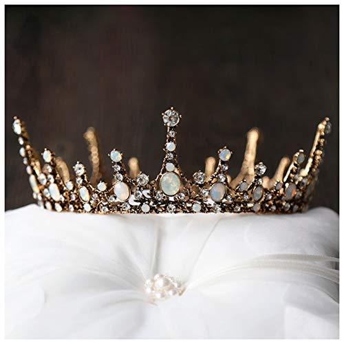 Bride Bridesmaid Crystal Wedding Crown Tiara Diadem Crown Crown Princess Queen Retro Charm Baroque Bronze Circular Headdress Hair Accessories - Circular Charm Crystal