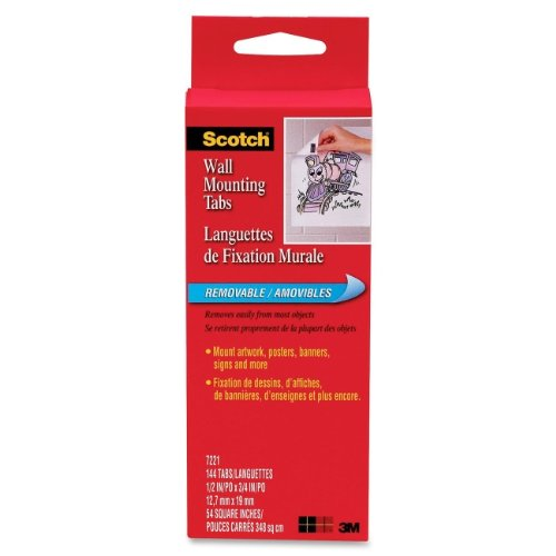 (3M Commercial Office Supply Div. Products - Wall Mounting Tabs W/ Removable Adhesive, 144/PK, 1/2