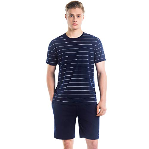 SANQIANG Men's Soft Cotton Short Sleeves and Shorts Pajama Set Summer Pjs for Men (US Size L (Tag Reads 2XL), Stripe-Navy) ()