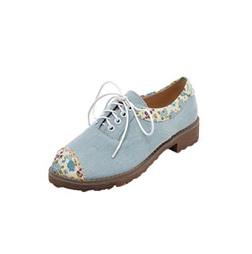 Allhqfashion Chaussures À Lacets Pour Femmes Bout Rond Talons Bas Escarpins Fleurs-chaussures Lightblue