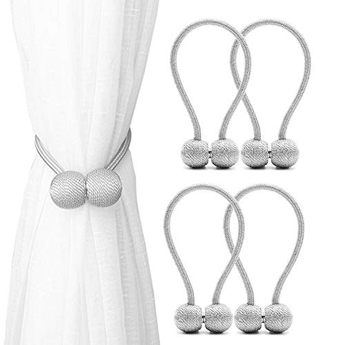 DEZENE Magnetic Curtain Tiebacks,The Most Convenient Drape Tie Backs,Decorative Rope Holdback Holder for Small, Thin or Sheer Window Drapries,4 Pack(12 Inch Long),Silver Grey (Holdback Decorative)