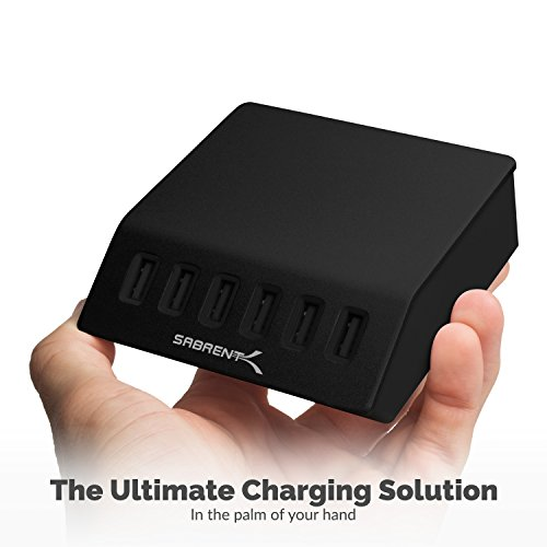 Sabrent Premium 60 Watt (12 Amp) 6-Port Aluminum Family-Sized Desktop USB Rapid Charger. Smart USB Charger with Auto Detect Technology [Black] (AX-FLCH-BT) by Sabrent (Image #2)