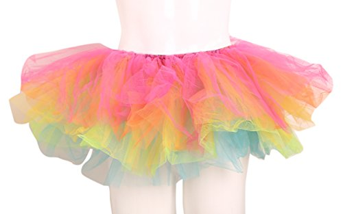 ELLITE Women's Multilayer Organza Tutu Party Dress Tulle Pettiskirt Rainbow