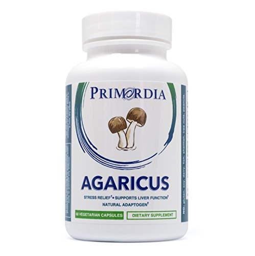 Primordia Agaricus blazei Capsules | Natural Stress Relief, Helps Fights Inflammation, Provides Bone & Liver Support | Non-GMO, Allergen Free, Pure Agaricus blazei Murill (The Brazil Mushroom) | 60ct.