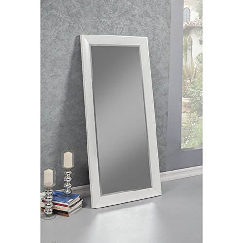 Full Length Mirror - Leaning Or Hang Floor Free standing or Wall mounted - Horizontal or Vertical Plastic Framed Contemporary Mirror (White)
