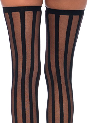 2611e29dc3b7e ToBeInStyle Women's Wide Vertical Striped Thigh Hi Stockings - One Size -  Black W/White Wide Stripes