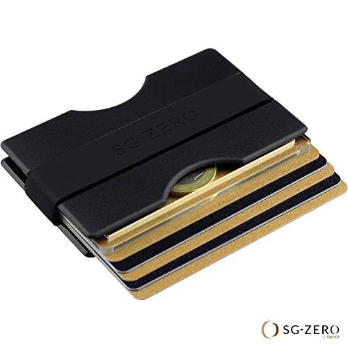 Billetera Minimalista Delgada Hecha de policarbonato para Guardar de 1 a 12 Tarjetas de crédito. Cartera con Gancho para el Dinero en Color Negro para Damas ...