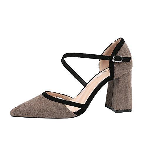 Xue Qiqi Satin grobe Raupenglieder wies hochhackigen Schuhe Frauen Frauen Frauen hohle geschlitzte Schnalle Sandalen Mode 408031